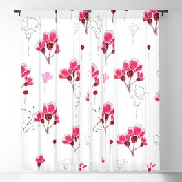 Pink Doodle Flowers Pattern Blackout Curtain