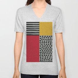 Earth Tone, Red Orange Pattern, Scandinavian Design Unisex V-Neck
