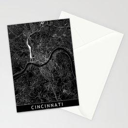 Cincinnati Black Map Stationery Cards