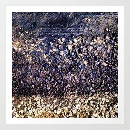 Old blue asphalt Art Print
