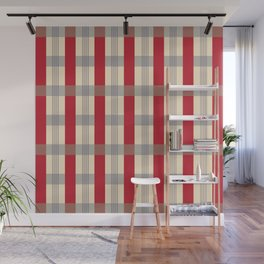 Red Striped Plaid Wall Mural