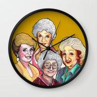 golden girls Wall Clocks featuring Golden Girls by Minerva Torres-Guzman