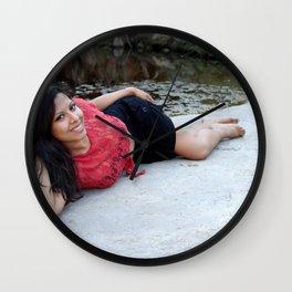 Hispanic Woman Creek Wall Clock