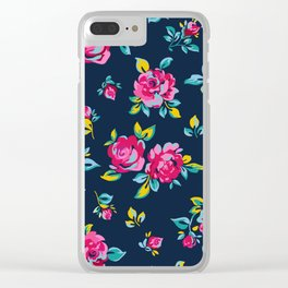 Raspberry Roses Clear iPhone Case