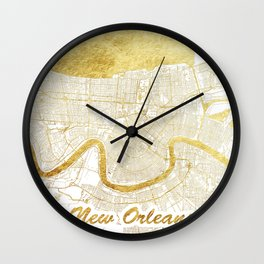 New Orleans Map Gold Wall Clock