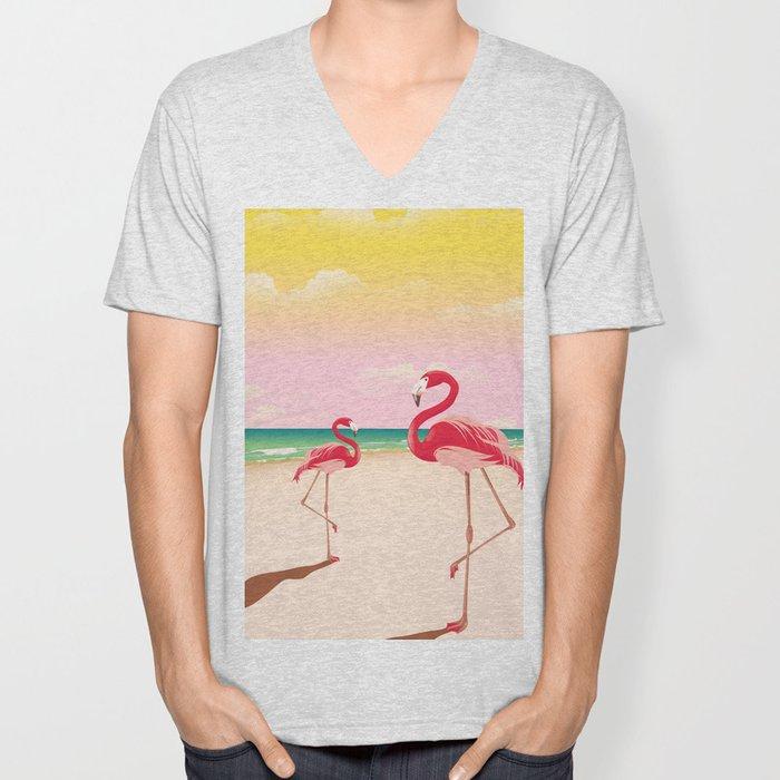 Flamingos on the Beach Unisex V-Neck