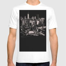 New York Black and White Mens Fitted Tee White MEDIUM