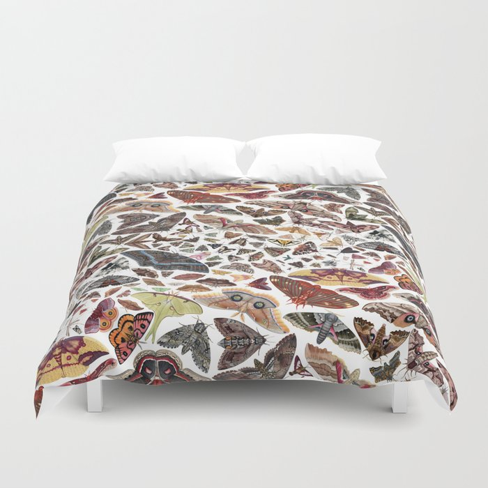 Moths of North America Pattern Duvet Cover