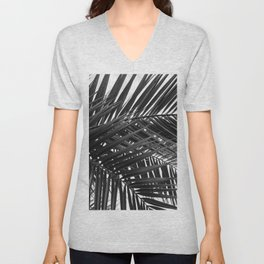 Tropical Palm Leaves - Black and White Nature Photography Unisex V-Neck