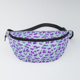 leopard Kitty - aqua purple Fanny Pack