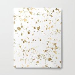 Metallic Gold Terrazzo Sparkle Metal Print
