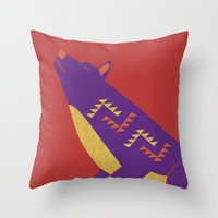 coyote Throw Pillows featuring Coyote by Claire Lordon