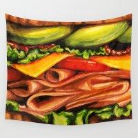 avocado Wall Tapestries featuring Sandwich- Turkey Bacon Avocado by Kelly Gilleran