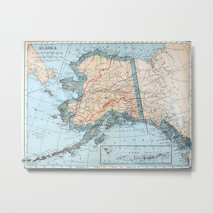 image about Printable Map of Alaska titled Common Map of Alaska (1921) Steel Print by means of bravuramedia