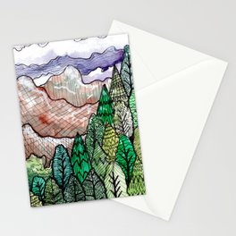 landscape forest montain pines Stationery Cards