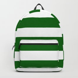 Emerald green - solid color - white stripes pattern Backpack