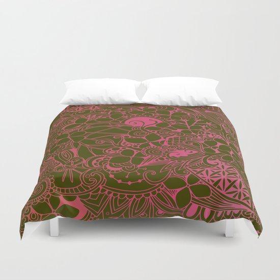 Olive square, pink floral doodle, zentangle inspired art Duvet Cover