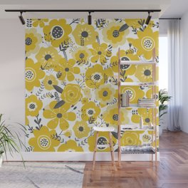 Wall Flower Wild Flowers, Yellow and White Wall Mural
