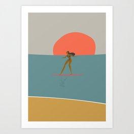 Surfing Girl-Summer Time Art Print