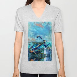 Anchor Seascape Unisex V-Neck