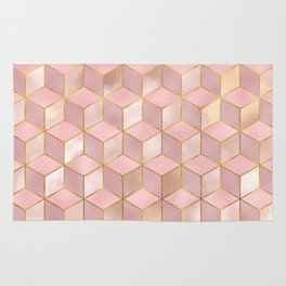 PINK CHAMPAGNE GRADIENT CUBE PATTERN (Gold Lined) Rug