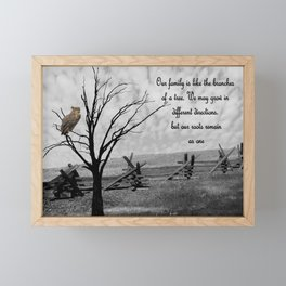 Great Horned Owl Bird with Family Quote Modern Country Art A570 Framed Mini Art Print