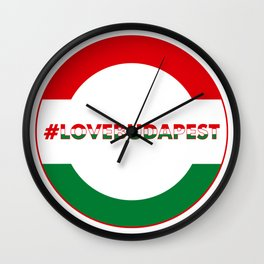 Hashtag Love Budapest, circle, color Wall Clock