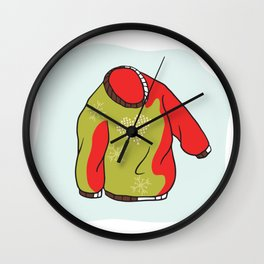Nordic Christmas Jumper Vector Clipart. Hand Drawn Embroidered Heart Ugly Sweater Wall Clock
