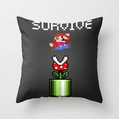 Mario survive Throw Pillow
