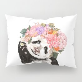 Baby Panda with Flowers Crown Pillow Sham