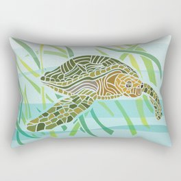 Sea Turtle at Home Rectangular Pillow