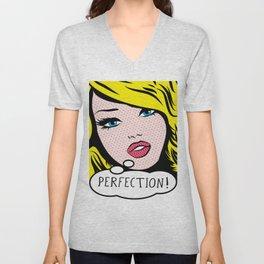 Perfection Pop Art Girl Unisex V-Neck