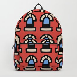 New York Windows Pattern 261 Red and Blue Backpack