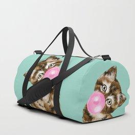 Bubble Gum Baby Cat in Green Duffle Bag