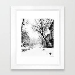 New York City At Snow Time Black and White Framed Art Print