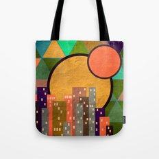 Geometric town at sunset Tote Bag