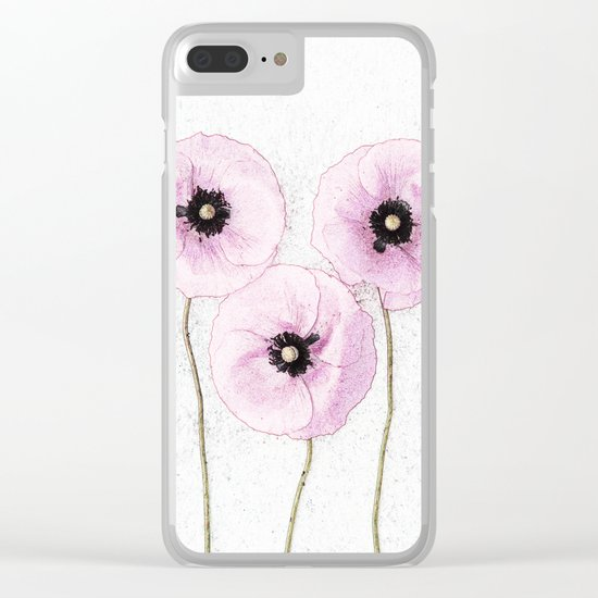 Delicate Poppies Clear iPhone Case