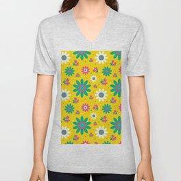 Retro Fall 60's Sunflower Floral in Yellow Unisex V-Neck