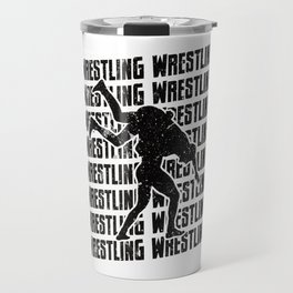 Wrestling Repeat Grapple Grappling Wrestler Black Travel Mug