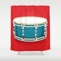 drum Shower Curtains featuring Drum - Red by Ornaart