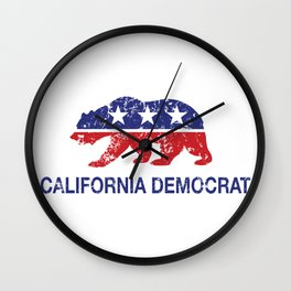 California Political Democrat Bear Distressed Wall Clock