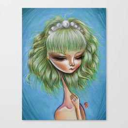 Green petals - Pop Surrealism Illustration Canvas Print
