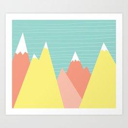 Pastel mountain range Art Print