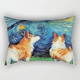 Starry Night Corgi Rectangular Pillow