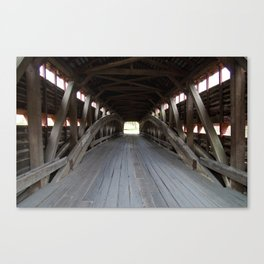 Inside A Covered Bridge Canvas Print
