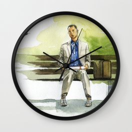 Forrest Gump (Tom Hanks) sitting on a bench with a flying feather Wall Clock