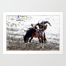The Dismount   -   Rodeo Cowboy Art Print