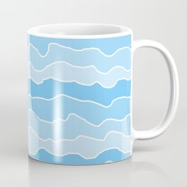 Four Shades of Turquoise with White Squiggly Lines Coffee Mug