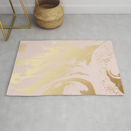 Gold tones swirl rose-gold background Rug
