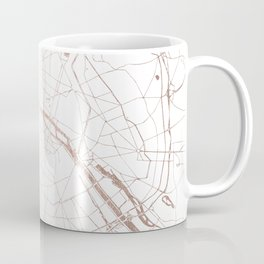 Paris France Minimal Street Map - Rose Gold Glitter Coffee Mug